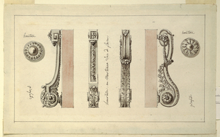 Knocker seen in right profile in the form of an arabesque decorated with acanthus leaf motifs. Rosette button fills center of S-curve.