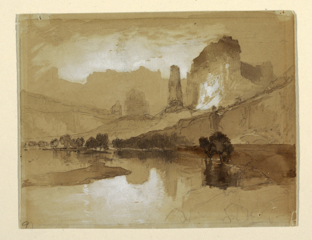 Recto: Horizontal view of stream in foreground, castle-like cliffs in right middle ground, and large mountain range in background.