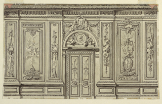 Folding door in arched door frame, in the center. Attributes of the Arts and Hymen. Laterally are wall panels between pilasters. Different suggestions for their decoration are made at left and at right. The suggestion at left indicates putti, a genius and a girl supporting vessels. At right: trophies of attributes of the arts and a candelabrum scheme with a censer. Laterally, section of the entablature.