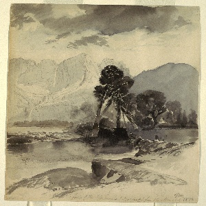 Recto: Vertical view with a mountain river winding from the foreground to a rugged range of mountains in the distance. Verso: horizontal sketch of mountain range.