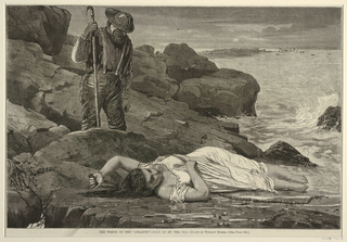 Horizontal view of rocky seacoast with boulders, with the figure of a woman in nightdress lying full length in the foreground, while beyond her, looking downward, is a man with a boathook, and in distance, at right, are a point of land with figures and foundered steamship.