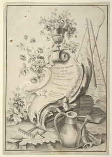 In a garden setting, a baroque tablet, surmounted by a vase with flowers.