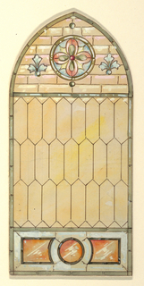Pointed arch stained glass window with geometric lead pane in soft yellow; lunette containing circular medallion with pink flower on blue; small blue plants on either side; below tripartite orange shapes framed in green.