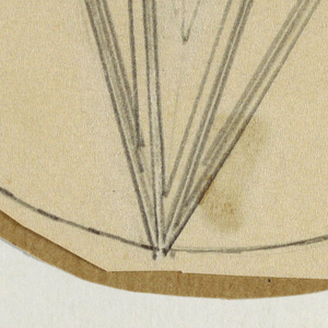 In circular field, two upside down cones, one inside the other.  Cones decorated with ruled vertical lines.