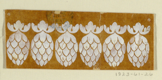 A row of six ovoidal pine cones pending from calyxes.