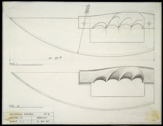 Two elevation views of knives (scale 1:1).