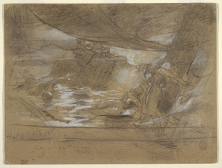 Horizontal view of the deck of a ship containing a cannonball, with two women lashed to a mast, at right, and men in oilskins in background, with clouds of smoke in the air.