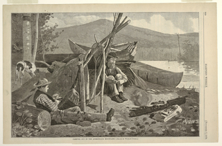 Two men, Rufus Wallace and unknown companion, sit before a bark lean-to on the Mink Pond shore in front of smudge fire to keep the insects away.  Fishing paraphernalia including a canoe and a string of three fish can be found in the right middle ground, while a dog can be seen in the left middle ground.