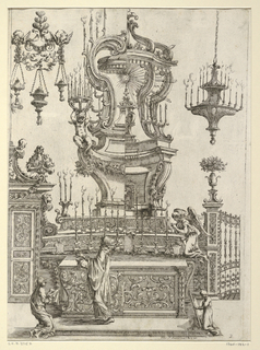 An altar with high architectural superstructure, in alternate suggestion, flanked by sanctuary lamps, and at left, a doorway. A priest is shown celebrating mass, att4nded by an acolyte and a worshiper.