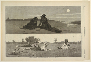 Upper half:  Middle-aged couple on the sand in moonlight.  Man is propped on elbow facing woman.  Woman is seated with back to viewer.  Lower half:  Two barefoot boys lying in a meadow facing seated girl at high noon.  Family of ducks in the lower left.  Information from: Ferber, Linda S., Barbara Dayer Gallati and Marilyn S. Kushner, Winslow Homer: Illustrating America (New York: George Braziller in association with Brooklyn Museum of Art, 2000), p. 86.