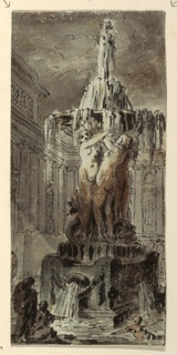 A central fountain with nude female figural sculpture decorating base spouting water into a pool below.
