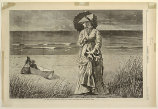 Horizontal view of a woman in foreground, looking over her shoulder towards man and woman on a beached dory, with the ocean visible in the background.
