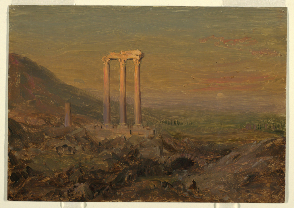 Oil sketch of classical ruin. Foreground is filled with architectural fragments.  Three Corinthian columns with entablature and fragment of another column stand upright. The upper parts of the columns are lit by the setting sun. An arch of the substructure and a seated Bedouin are shown in the right center of the foreground.