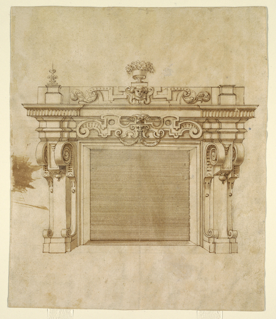 Architectural design shows recessed fireplace with an architrave mantelpiece decorated with heavy scrollwork and a centralized mask.  Above this, the entablature includes a mask framed within an escutcheon and acanthus leaves.  Strapwork consoles decorate the sides, scrolling forward to flank drop finials.