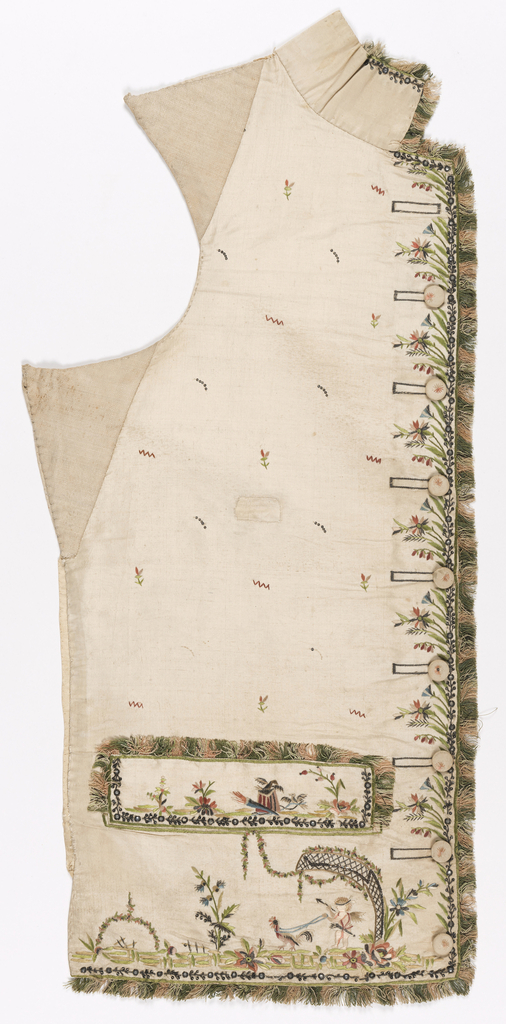 Waistcoat right front panel with a design of blindfolded Cupid being driven by a bird. Trimmed with polychrome fringe.