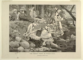 To left, at top, three men and one woman recline on grassy back, with trees in background.  Stream at right, flowing over mill-dam in background past rocks in foreground where three young women are fishing.