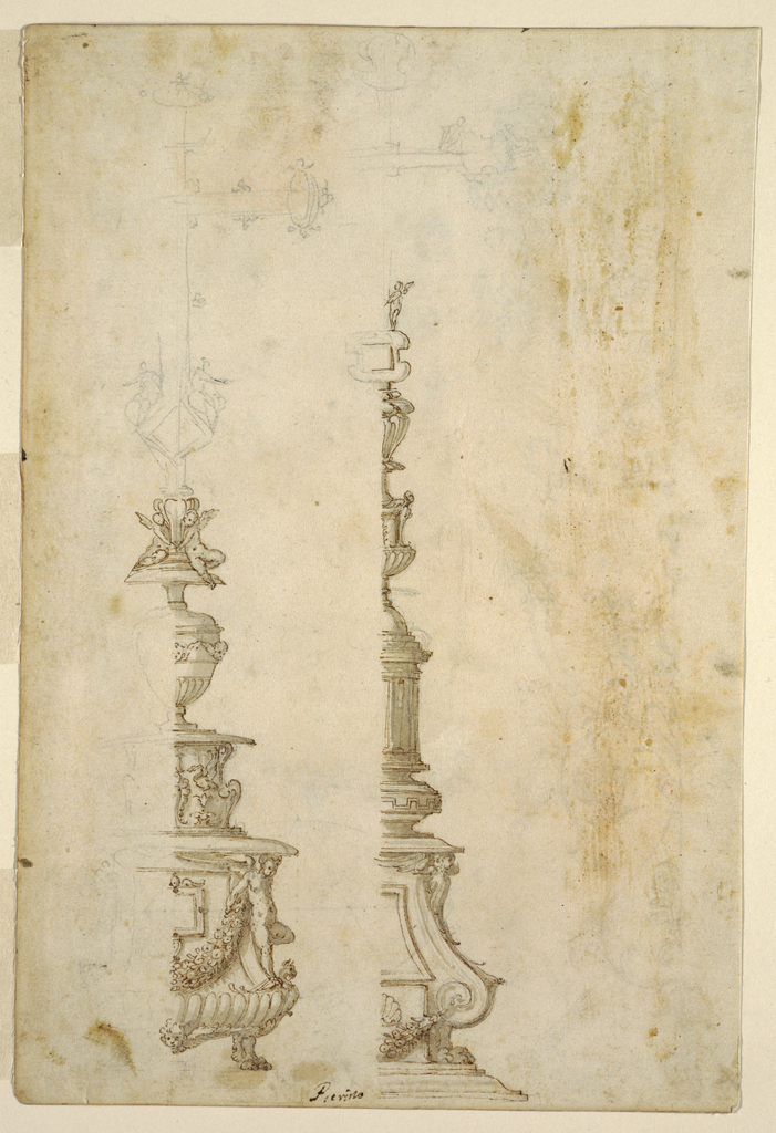 "Depicted on recto: two bases for altar crosses (only right half of each is shown).  On the LEFT, a base formed by a pedestal resting on lion feet; the lower part of pedestal is bossed (gadrooned); the front decorated with a tablet and festoon which is held by an angel standing at the corner: above another ""pedestal"" supporting a vase decorated with bosses (below) and a row of cherubim (above); at the top of the ink-drawn base, two seated angels support a socket.  Above this, lightly sketched in black chalk, a jeweled cross with two angles holding the shaft.  The base on the RIGHT: on a molded base stands a pedestal, the sides of which consist of a volute resting on lion feet and a cherub above; in the lower section of the pedestal, at the center, a festoon hangs (with a shell on top); above this, is a tablet frame.  Above this, a squat ""bottle"" or ""knob"" decorated with an Antique key pattern which supports a circular domed structure, which, in turn, supports a vase decorated with bosses (gadrooning) below and cherubim above; above this is another vase with gaines below and an unreadable lobed element above.  At the top, a socket/tablet and above that a standing angel holding the shaft of a jeweled cross (lightly sketched in black chalk).  On VERSO, near left edge: the right half of a grotesque.  At the bottom of this form is a hanging pear form with a palmette.  Above this a floral form upon which rests a scalloped base with a harpie supporting a calyx.  Above this is a decorated oblong base from which acanthus leaves sprout ending in a goat.  From the acanthus leaves springs a lily shape above which is a scalloped base supporting a round vase holding flowers and decorated with a basket motif above and a head below. Above the oblong base rests a sphinx from whose head springs leaf-like motifs."