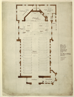 Plan of a church with exteriors in brown.