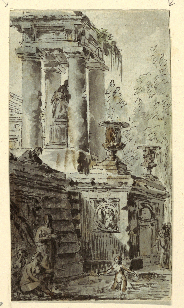 Architectural fantasy showing columns, sculpture, urns and female bathers in a pool of water below.