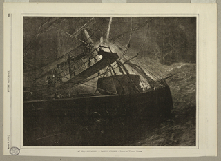 Horizontal view at night showing the starboard side of the fore portion of a vessel and foremast.  Four men, in nautical uniform, on bridge, and two skyrockets ascending.