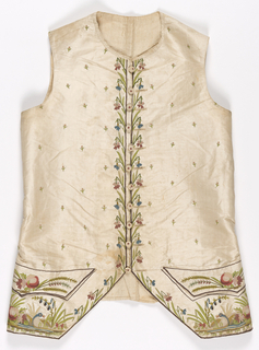 Gentleman's waistcoat in cream-white taffeta in a cutaway style and collarless with shaped pocket flaps. Front embroidered in small detached flower sprigs while the center front has blue and pink flowers with long green leaves. Pockets embroidered with larger pink flowers, and area below pocket flaps has a duck in a pond surrounded by flowers.