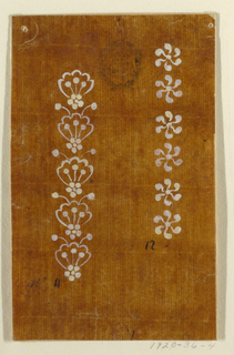 """At left: a vertical row composed of a unit shown five times: a leaf with three seeds inside rises from a blossom rosette; two more seeds rise over it. Written in ink, beneath: """"No. 11"""" At right: a vertical row of six rosettes with six whirling petals each. Written beneath: """"12"""""""
