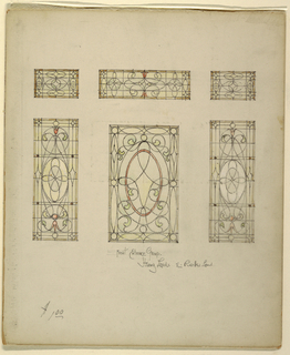 Six stained glass window designs with curled vines and red tulips.