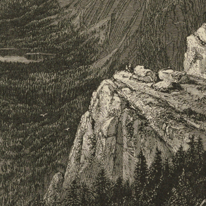 Sweeping view of Yosemite valley with the rock formation known as Half Dome visible at right. View is from Glacier Point.