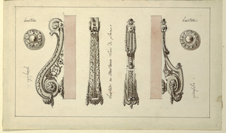 Design for two doorknockers, scroll-shaped, decorated with acanthus leaf motifs. Bottom fills center of S-curve, example at right. Framing lines.