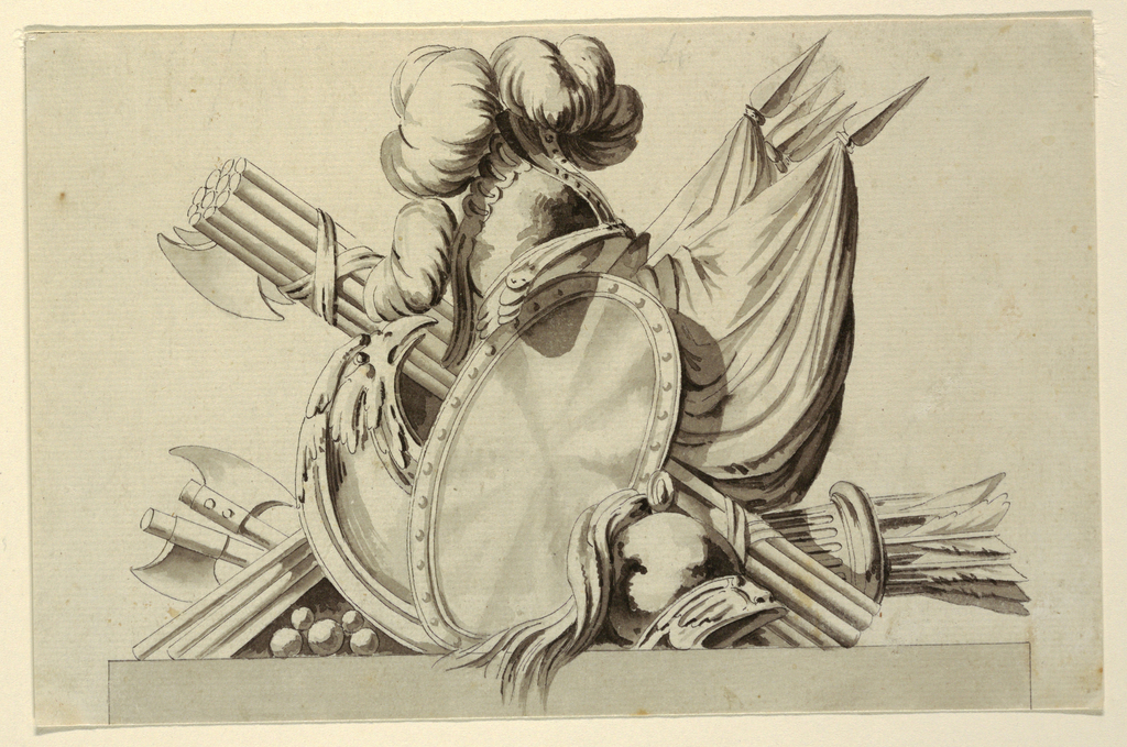 Drawing, Design for Trophy with Military Attributes