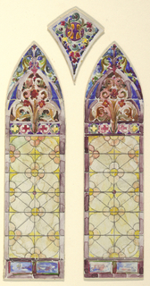 Drawing, Stained glass window: right pane of three part design
