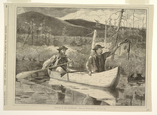 Horizontal view of two men, Charles Lancashire and Rufus Wallace, in a canoe, with a rifle resting on the gunwales, checking traps on the Mink Pond in late summer or early fall.  Man in stern holds paddle; man in bow holds a trap in which a weasel has been caught.  Beaver Mountain rises at right in the background.