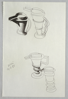 Four sketches are shown on sheet (left edge perforated).  Two vessels at the top of the sheet have conical bodies with pronounced, rectangular spouts.  The one at left has a wavy handle, while the other, at right, has a long curved handle and belly bands around the body.  The two vessels at the bottom are similar in form to those at the top.  They both have a stepped base and rings immediately above this.  The one at left has a rectangular handle and is seen from the direction of the spout.  The other is drawn so the spout is visible, though the handle is not.