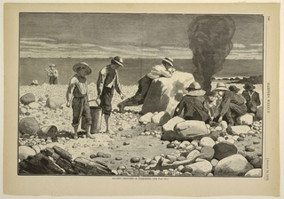 Two boys carrying a pail turn their heads away from the dead fish in the lower right, while a group of young boys on the beach build a fire.  One prepares to steam or bake clams.
