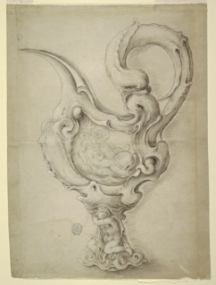 Vertical rectangle showing ewer In auricular style shown in profile.The handle at right includes a dolphin biting into another head. On the body is a panel framed by scrolls. It shows Neptune and Amphitrite riding upon dolphins. The shaft consists of a nude woman sitting upon the sea.
