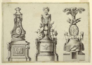 Left: Tall shaft decorated with two rams heads, drafted in garlands, below a portrait plaque containing a profile of a woman facing left, base baring central relief of putti.  Center: two winged putti flank a talla antique-style urn from which arises a bust of Bacchus, the base bears an eagle in relief.  Right: Above base two sphinxes flank medallion relief depicting three figures and billowing smoke, surmounted by trophy of birds, a quiver of arrows and pumes at top.