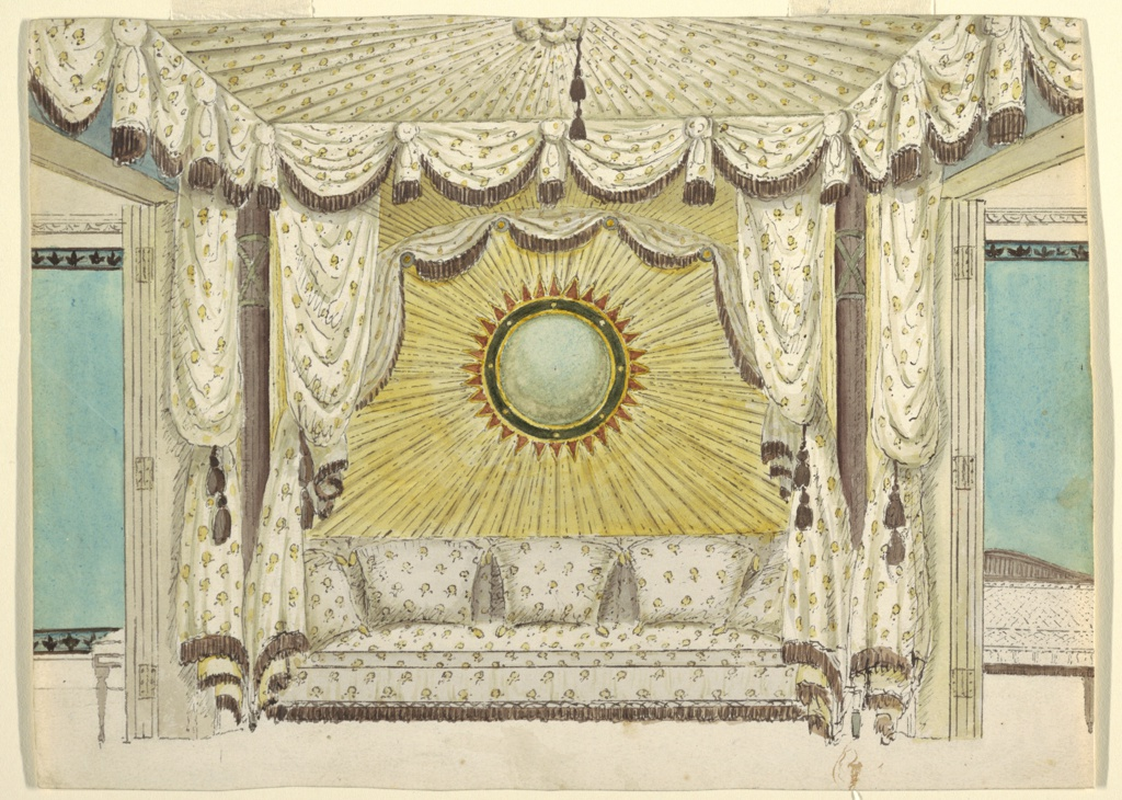 Design for an alcove between two rooms, with a sofa upholstered in a fabric matching the flanking drapery curtains and the tented ceiling canopy.  Above the sofa, the wall is decorated with fluted golden drapery radiating from a convex, sun-shaped mirror.  Drapery frames the sofa recess and doorways.  The walls of the rooms on either side are turquoise.