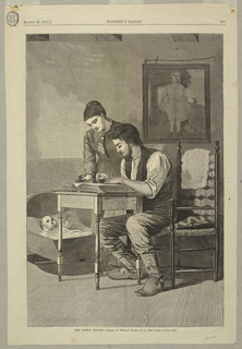 Vertical view of an interior with a seated man writing in a large book on top of a table as a woman looks on while holding an ink bottle.  At left cradle holding a baby rests on the floor and on the back wall a portrait of a man in mid-18th century costume hangs.