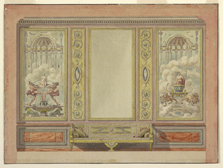 Sofa stands under an empty oblong frame and two pilaster strips and is flanked by wainscotted dados before the center of the wall.  A decorative panel with a fountain is at left.  Another with Ceres in clouds, at right.  Ink lines along edges.
