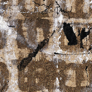 """Design uses the Hebrew Characters """"Shin,"""" painted 5 times across and 6 times down.  Characters partly obliterated by splattered black ink and white gouache."""
