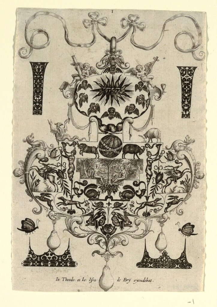 Pendant design with animal imagery (winged deer, squirrels, rabbits)  with hanging pear-shaped pearls.  Central image features The Temptation: Adam and Eve with serpent hanging from tree.  Surrounding the pendant are blackwork ornament designs for enamelists, mostly showing possibilities for the top and sides of rings.   First plate of the complete set of 8.   (Matted with 6161.1-2/4.2000)