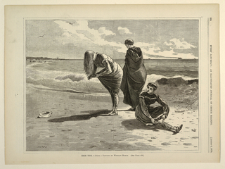 Horizontal view of three women in bathing costume on the beach