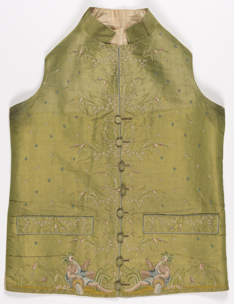 Man's waistcoat with standing collar and welt pockets. Embroidered on the center front edges with floral motifs and at the lower edge with images of river gods, on puce silk.