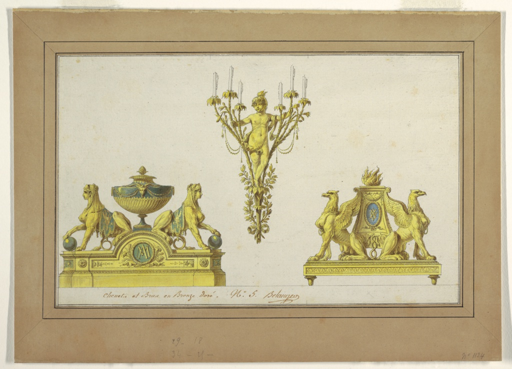 Designs for metal pieces. Upper center, a sconce with a young boy with fire on his head standing among six branches, three on each side, with candles at the tips. Lower left, an andiron with adorsed sphinxes crouching on either side of an urn. Lower right, an andiron with adorsed griffins crouching on either side of a flame-topped altar.