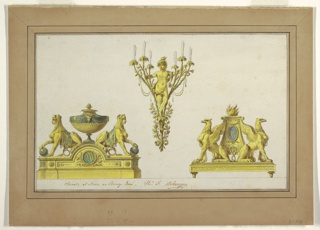 Drawing, Design for Two Andirons and Sconce of Gilt Bronze