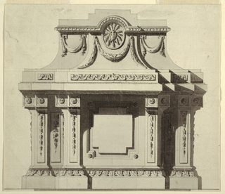 Monument takes general scheme of a pedestal. Top section decorated with medallion of  sun, festoons below. Bottom section shows cross-shaped tablet at center, decorated pilasters topped with rosettes at either side. Base decorated with acanthus leaves. Shadows throughout.
