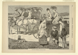 Two groups of men and women in two three-seated White Mountain wagons.  In the right foreground, a kneeling gentleman holds a bottle of wine and a basket while two ladies stand by.  A dog rests in the grass on the left.