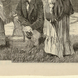 Horizontal view of two groups of men and women setting out in two three-seated White Mountain wagons.  In the right foreground, a kneeling gentleman holds a bottle of wine and a basket while two ladies stand by.  This gentleman is believed to be a self portrait by Homer.  A dog rests in the grass on the left.    [Above information taken from: David Tatham, Winslow Homer and the Pictorial Press (Syracuse: Syracuse University Press, 2003), p. 44.