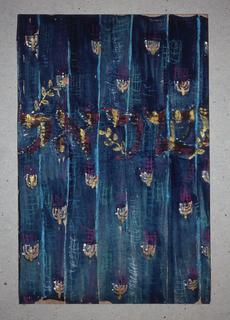 Curtain decorated with rows of gold menorahs to be made of sheet metal on blue and purple woven backgound.  Inscribed in large gold Hebrew letters across middle:  Yisrael [Israel].