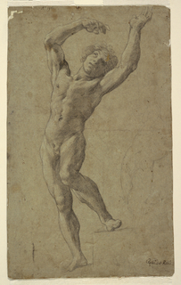 Study of a nude young man, the figure shown from the front, with raised arms and with the left foot standing backwards and higher. Near the right edge a roughly outlined sketch of the greater part of the body of St. Sebastian in a different pose.